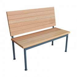Asian Wood Bench with Backrest